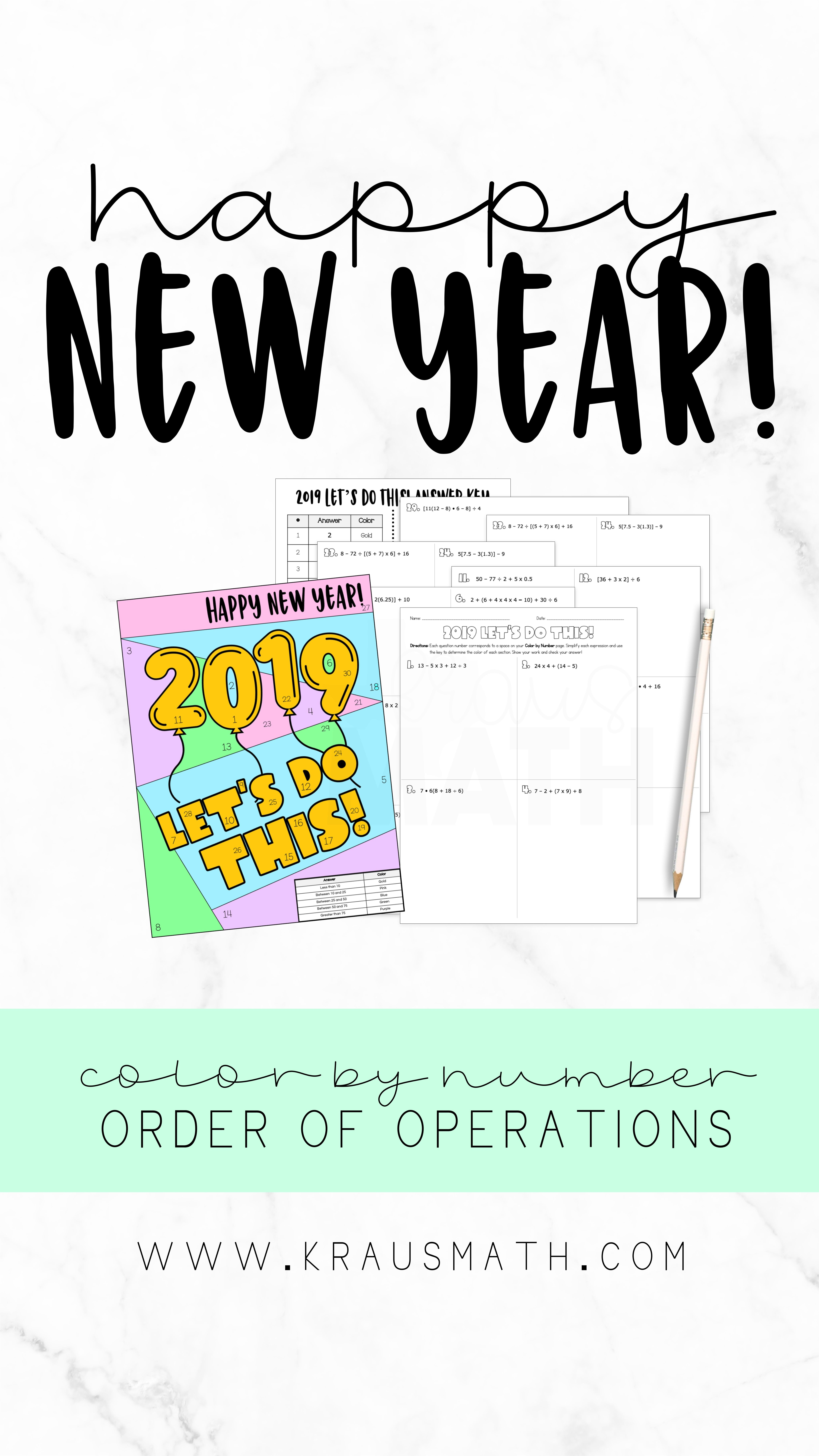 Color By Number New Years Order Of Operations Teks