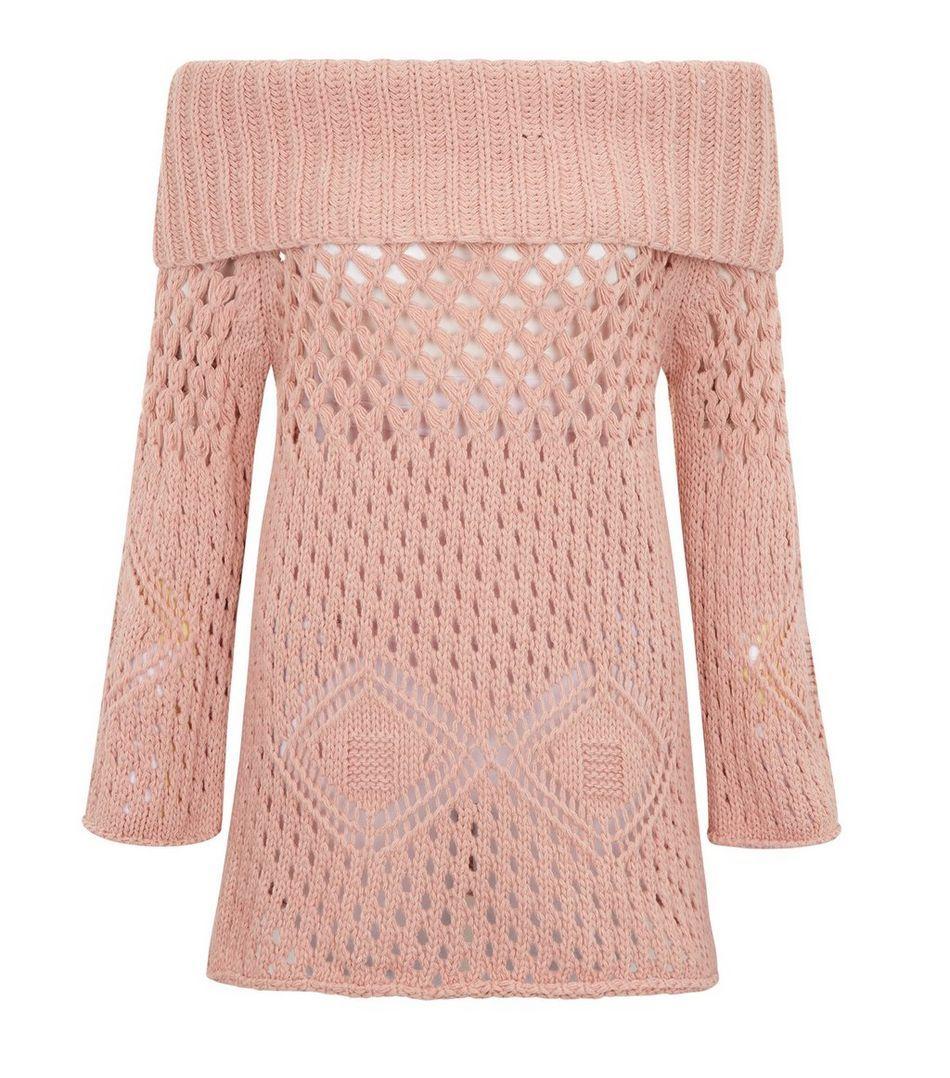 Cameo rose grey crochet bardot neck longline jumper jumper