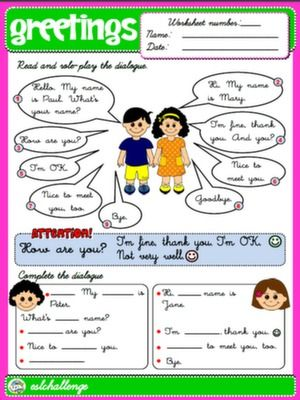 Greetings Worksheet English In 2018 Pinterest Worksheets