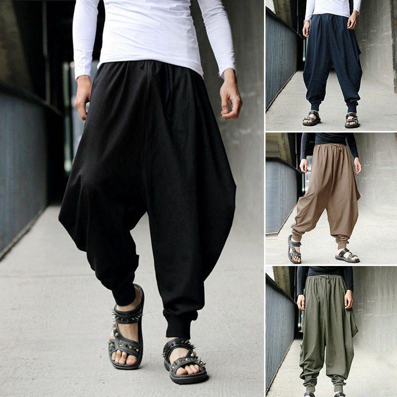 Men/'s Harem Baggy Pants Trousers Cotton Linen Loose Yoga Casual Boho Fashion