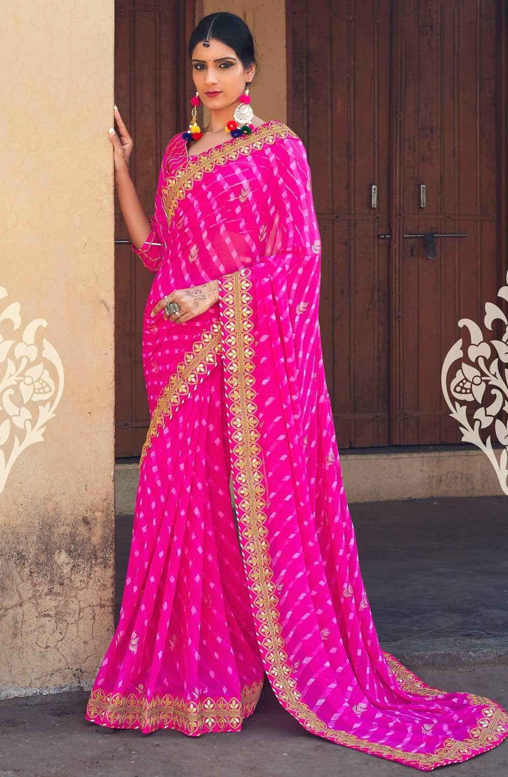 Pink Saree: Hot Pink Georgette Bandhni Saree With Gota Border Work For