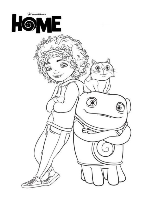 Home, de nieuwe Dreamworks film, Tip, Oh en Pig | Coloring sheets ...
