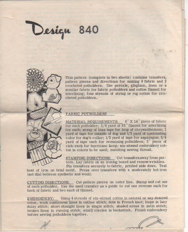 Mail Order Crafts Pattern 840 This Pattern Contains Transfers