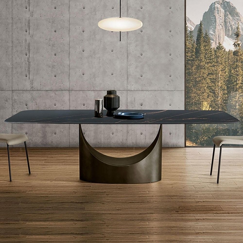 Minimalist Rock Board Dining Table Modern Villa Home Luxury Marble Dining Table Large In 2021 Modern Dining Table Marble Dining Dining Table Marble