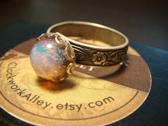 Victorian Style Fire Opal Antique Silver Ring Floral Ring Band- Adjustable (1528) on Wanelo