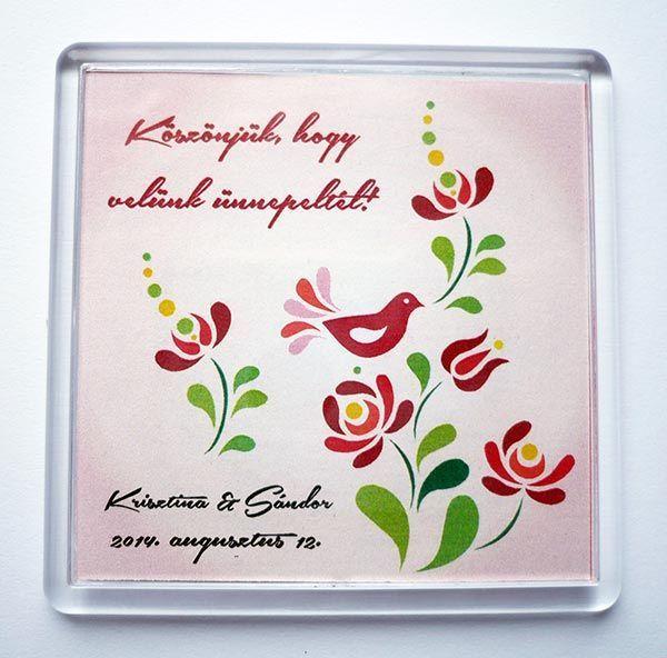 Műanyag egyedi esküvői hűtőmágnes - Köszönetajándék doboz 3a4b9ddadc