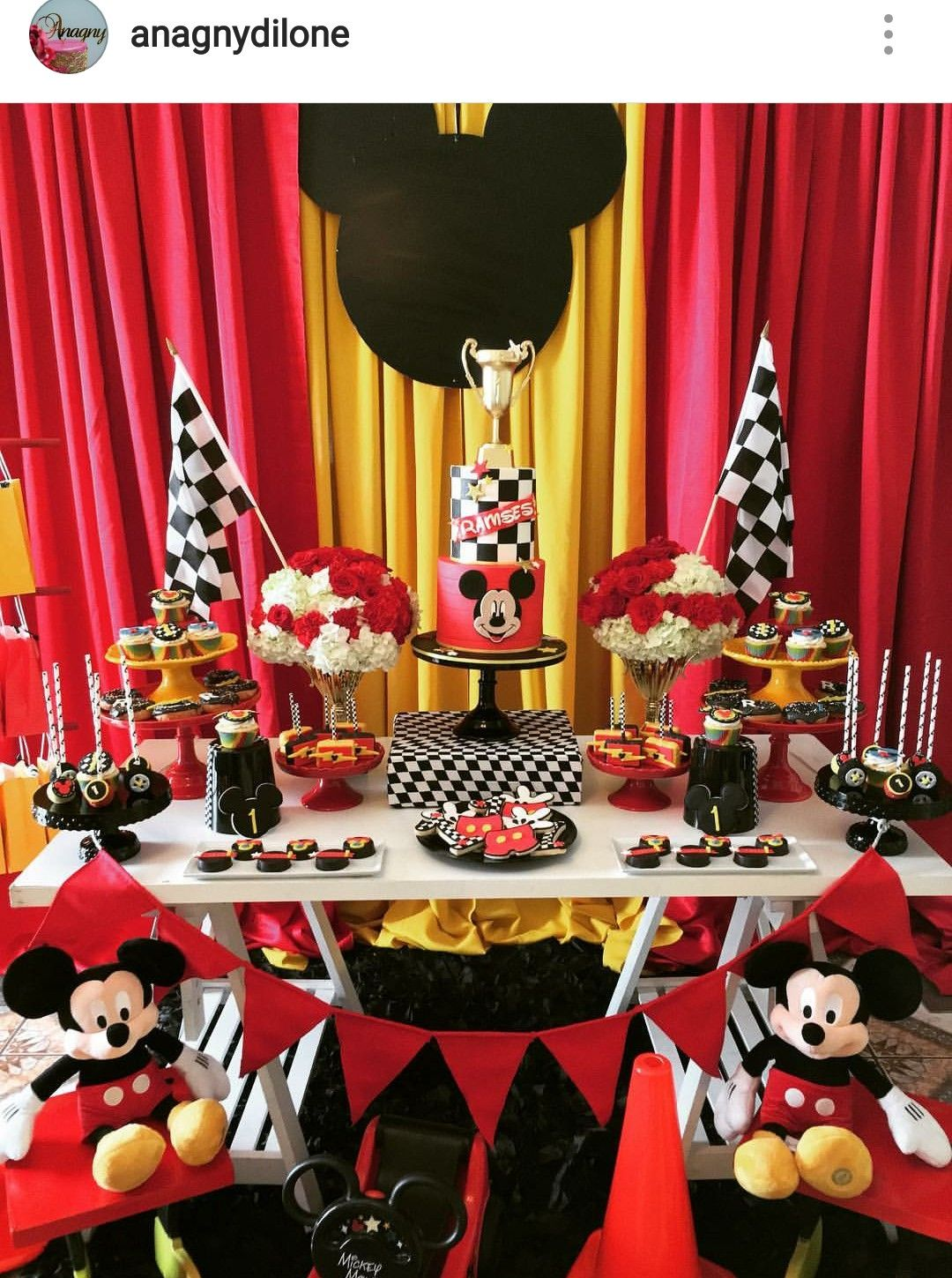 Mickey Mouse Road To Racer Inspired Birthday Party Dessert Table And
