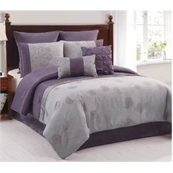 purple and gray bed sets queen | ... / Amelle Purple & Grey 8 Piece Queen Comforter Bed In A Bag Set $70