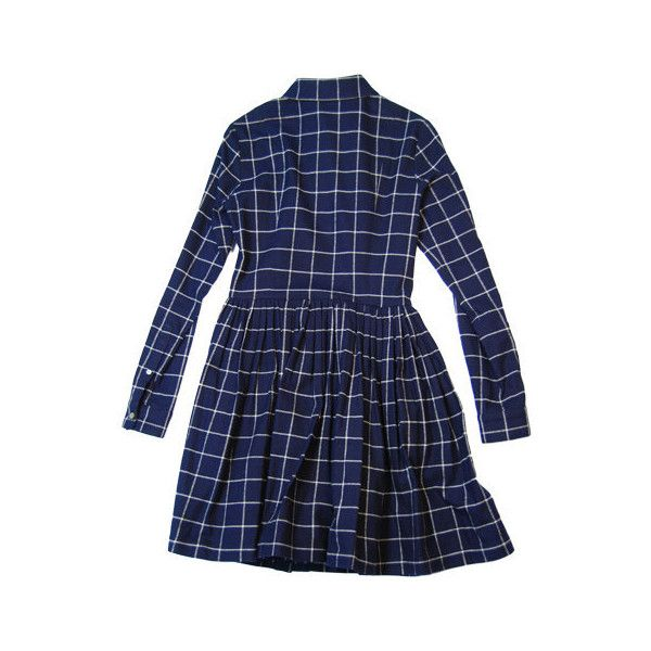 opening ceremony full shirt flannel l/s dress WD13-FW08 ($145) ❤ liked on Polyvore featuring dresses, women, opening ceremony dress, opening ceremony, blue flannel dress, blue dress and flannel dress