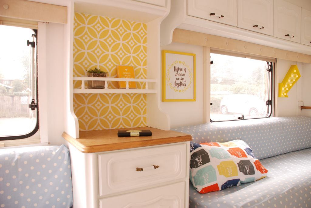caravan makeover take one ugly little touring caravan and transform it gone glamping be. Black Bedroom Furniture Sets. Home Design Ideas
