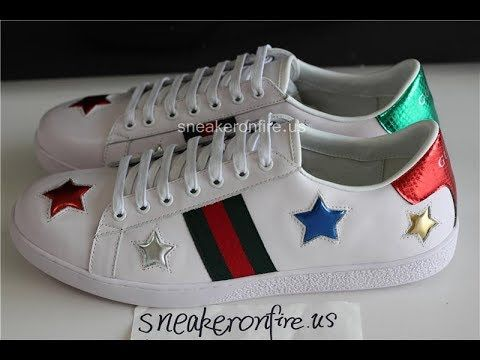 3e33e8328 Gucci Ace Low Top Metallic Star Leather Sneaker Unboxing Review from s…  Use