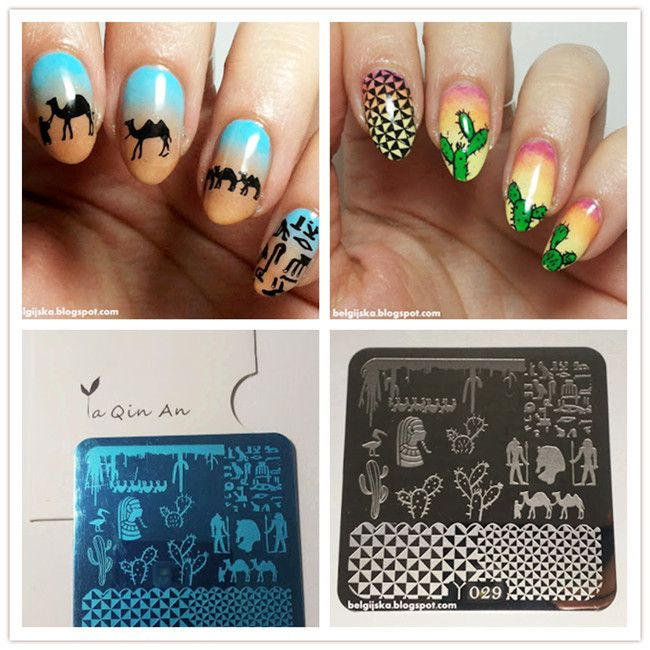 $199 Crane Camel Animal Pattern Nail Art Stamp Template Image - stamp template