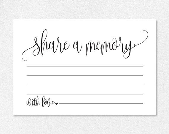 Share A Memory Card Memory Cards Share A Memory Printable Etsy Memorial Cards For Funeral Memorial Cards Funeral Memorial