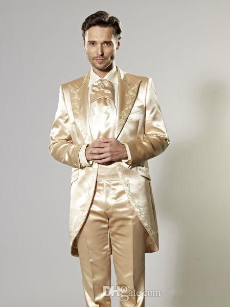 Three Pieces Hot Sale Custom Made Groom Tuxedos Gold Wedding Suits ...
