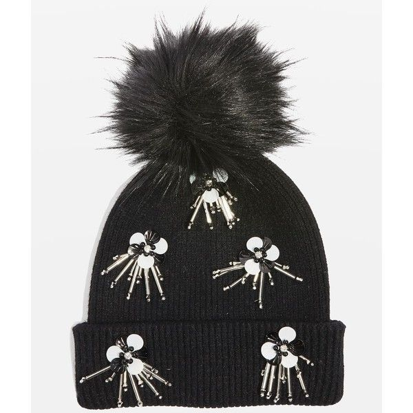 8f47e2cb83ae26 TopShop Flower Burst Embroidered Sequin Beanie Hat ($35) ❤ liked on Polyvore  featuring accessories, hats, black, sequin hat, beanie hat, sequin beanie  hat, ...