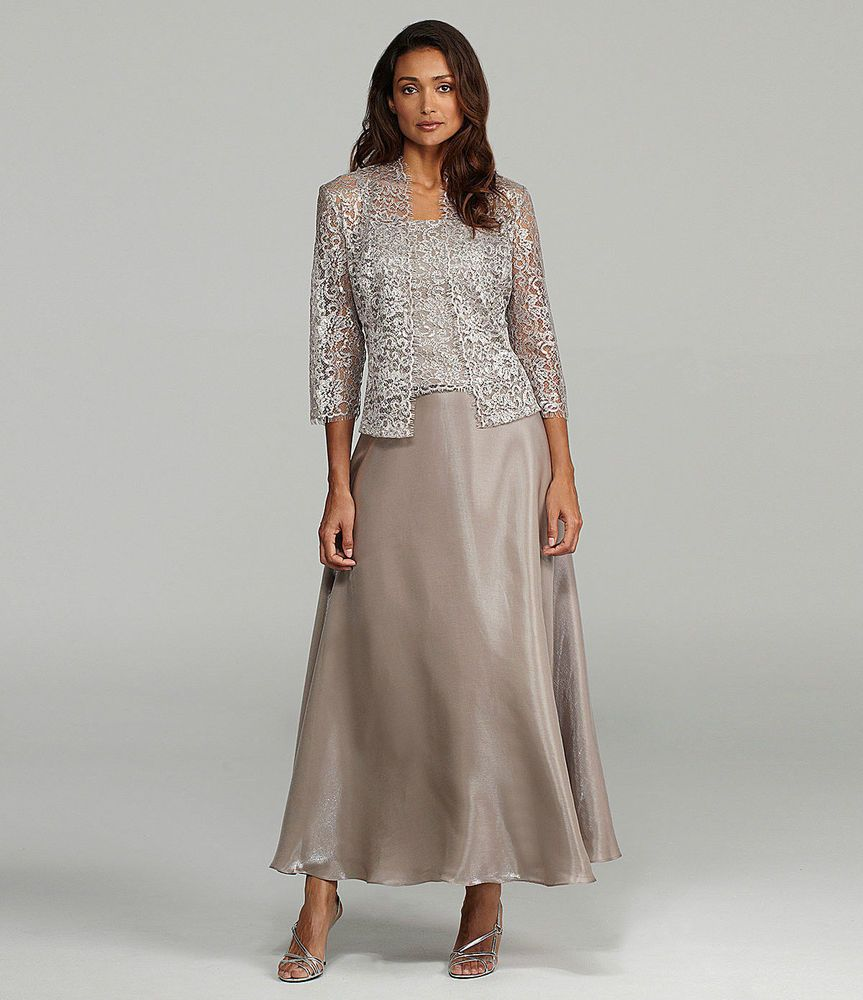 Karen Miller Km Clay Mother Of The Bride Formal Lace Jacket Dress Gown 12 New