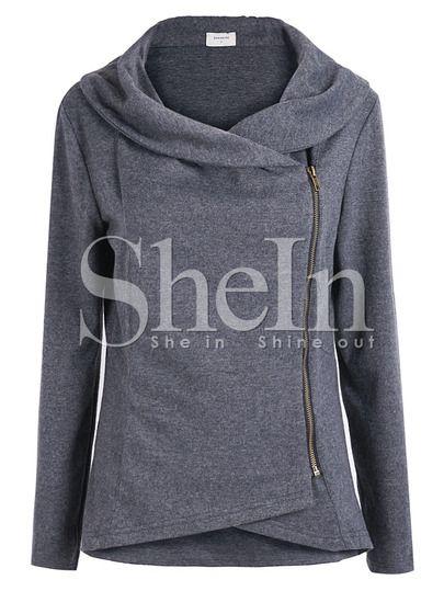 Mantel mit rei verschluss dunkel grau german shein sheinside effortless beautiful - Shein damenmode ...