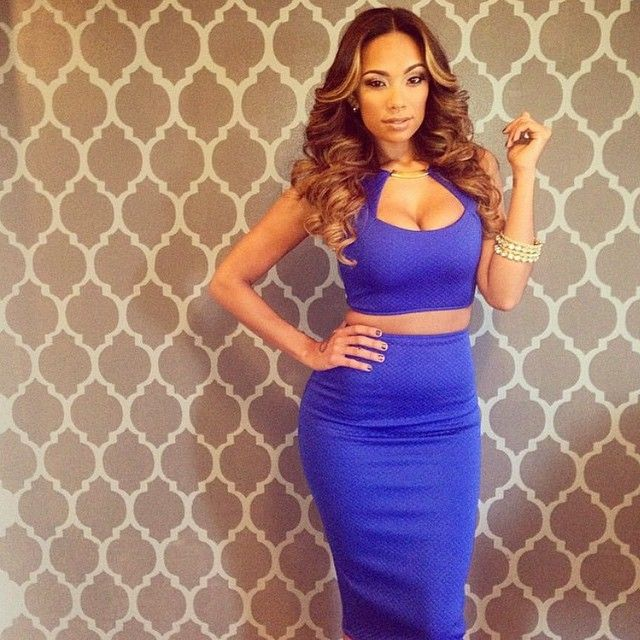 Erican Mena Flawless Stunning Pretty Party Glam Outfit Sexy Colbalt Blue Bodycon Two Piece Crop Top Cleavage Midi Skirt Dope Beautiful Women Hot Miami Styles