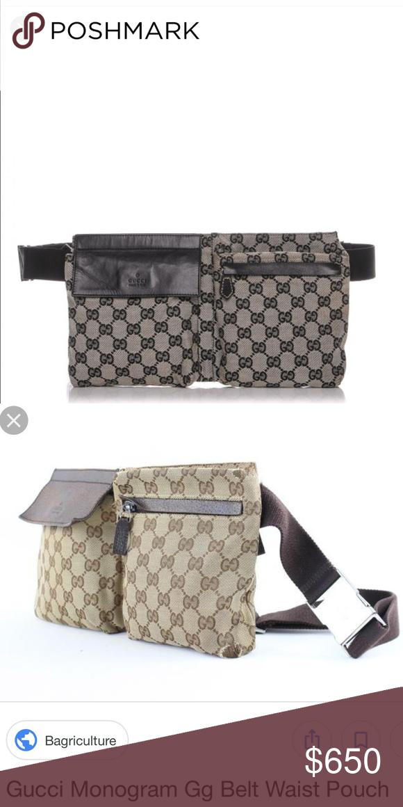 00021b448e62c0 Gucci Monogram Bum Bag Waist Pouch Fanny Pack - 100% authentic - Black and  Grey color. Never worn Gucci Bags Clutches & Wristlets