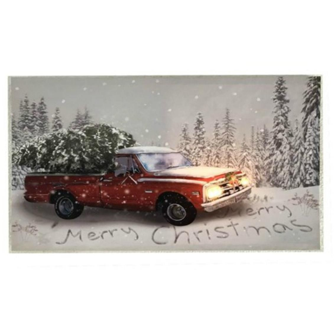 16 Red Vintage Truck Merry Christmas Wall Hanging Led Christmas Wall Hangings Vintage Truck Rustic Holiday Decor