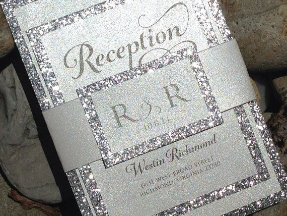 Glitter Wedding Invitation Bridal By Soireecustompaperco