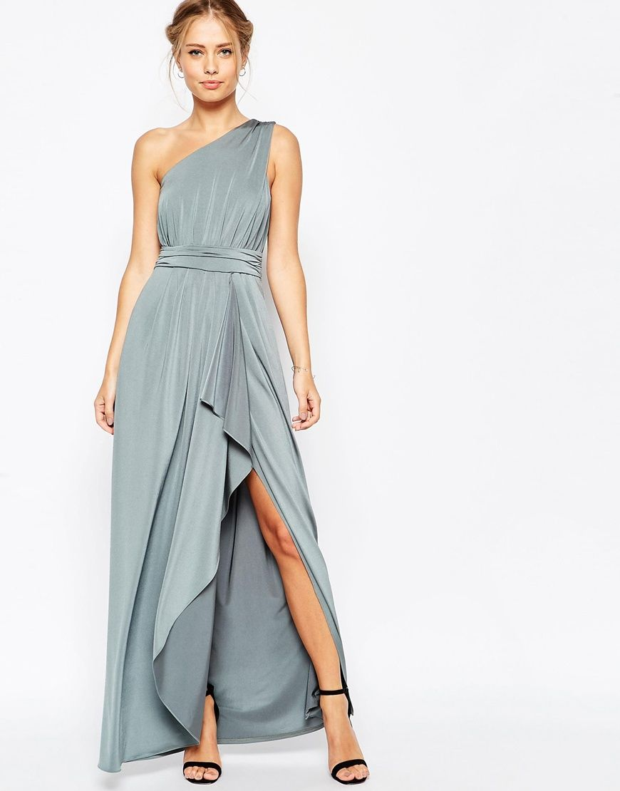 ASOS WEDDING One Shoulder Sexy Slinky Maxi Dress