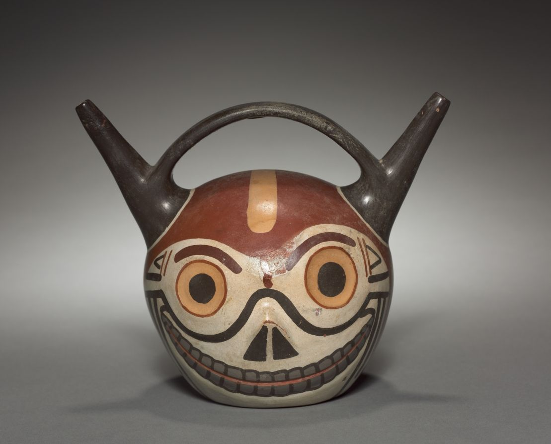 Skull Vessel | Cleveland Museum of Art Wari (Pachacamac) style, Middle Horizon, Epoch 2 earthenware with colored slips