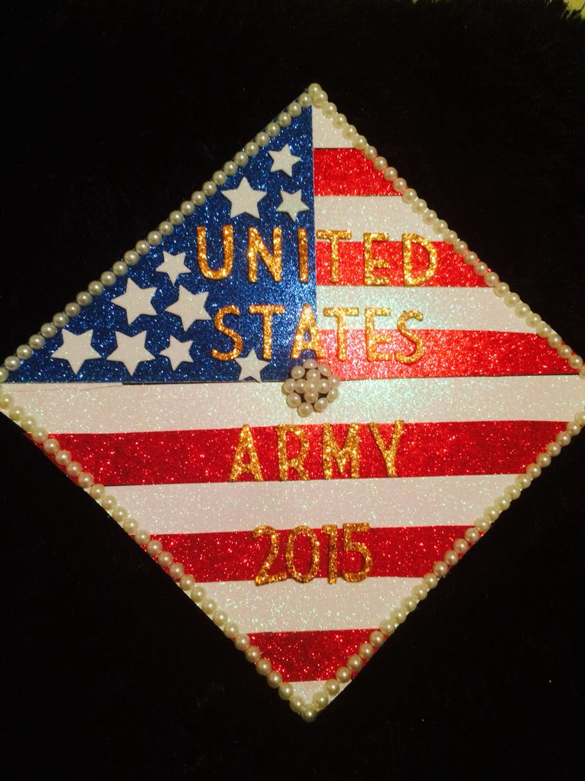 American Flag Army Graduation Cap Senior Year Prom