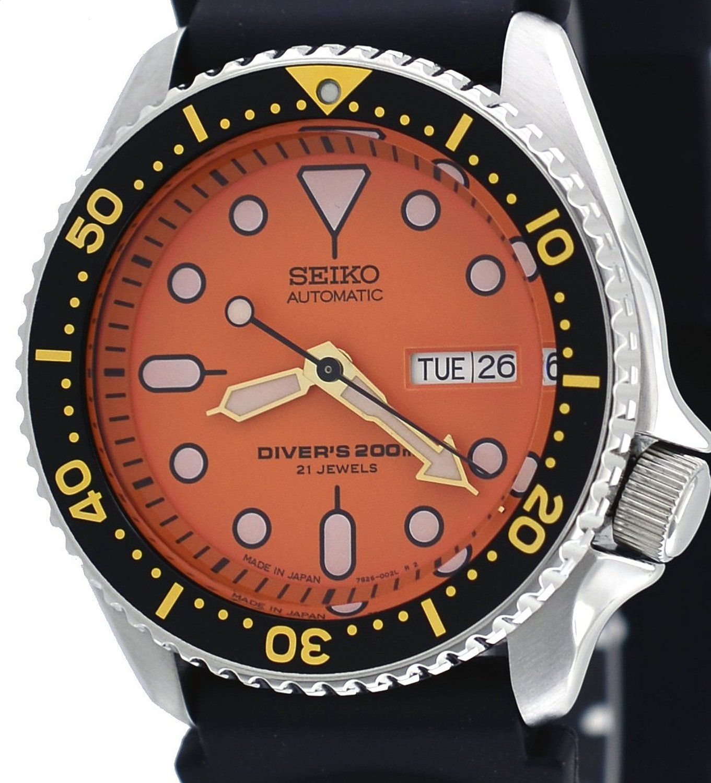 Seiko diver orange dial automatic mens watch skx011j1 watches pinterest seiko watches and - Orange dive watch ...