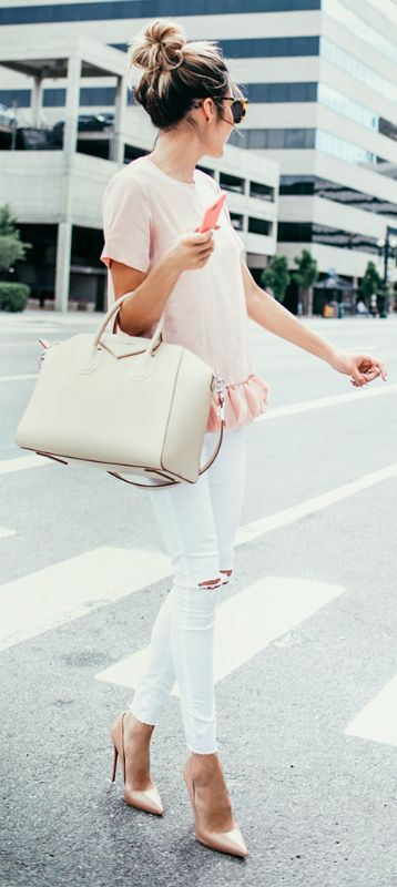 This white and pink combo looks both girly and fresh. Via Christine Andrew