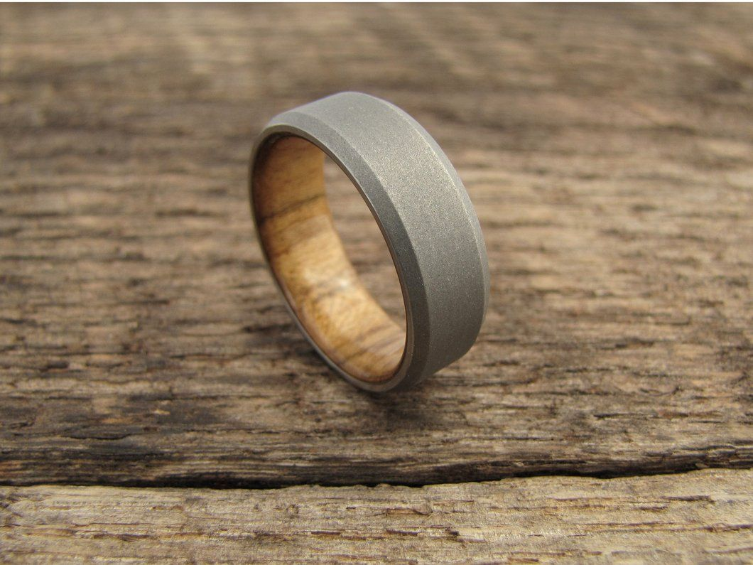 Duality (Teak) - Stonewash Finish Men's Titanium and Wood Wedding Ring