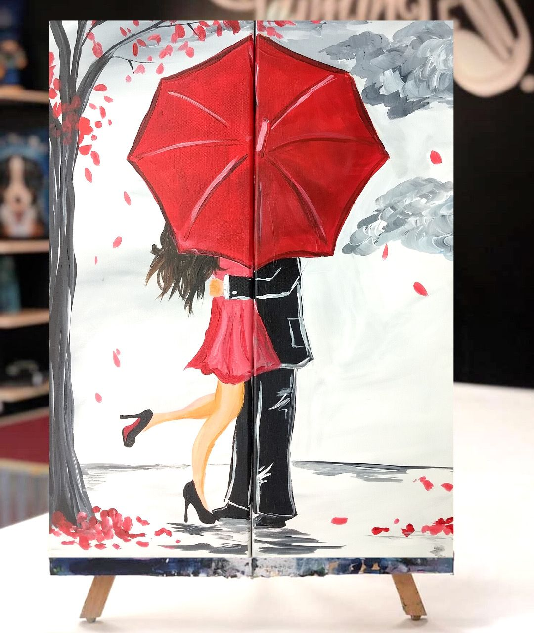 Love Is In The Air In 2020 Easy Canvas Art Umbrella Art Canvas Painting Tutorials