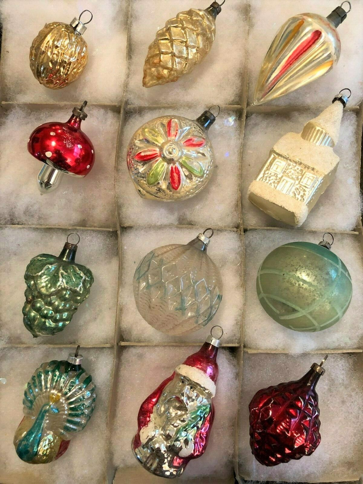 12 Antique German Mercury Glass Blown Feather Tree Xmas Ornaments