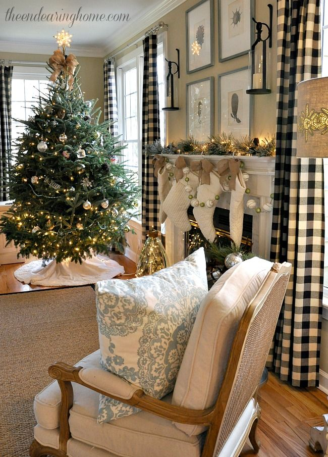 ce0f18e920ea Christmas in the Family Room lanterns from Pottry barn. Buffalo Plaid  Curtains