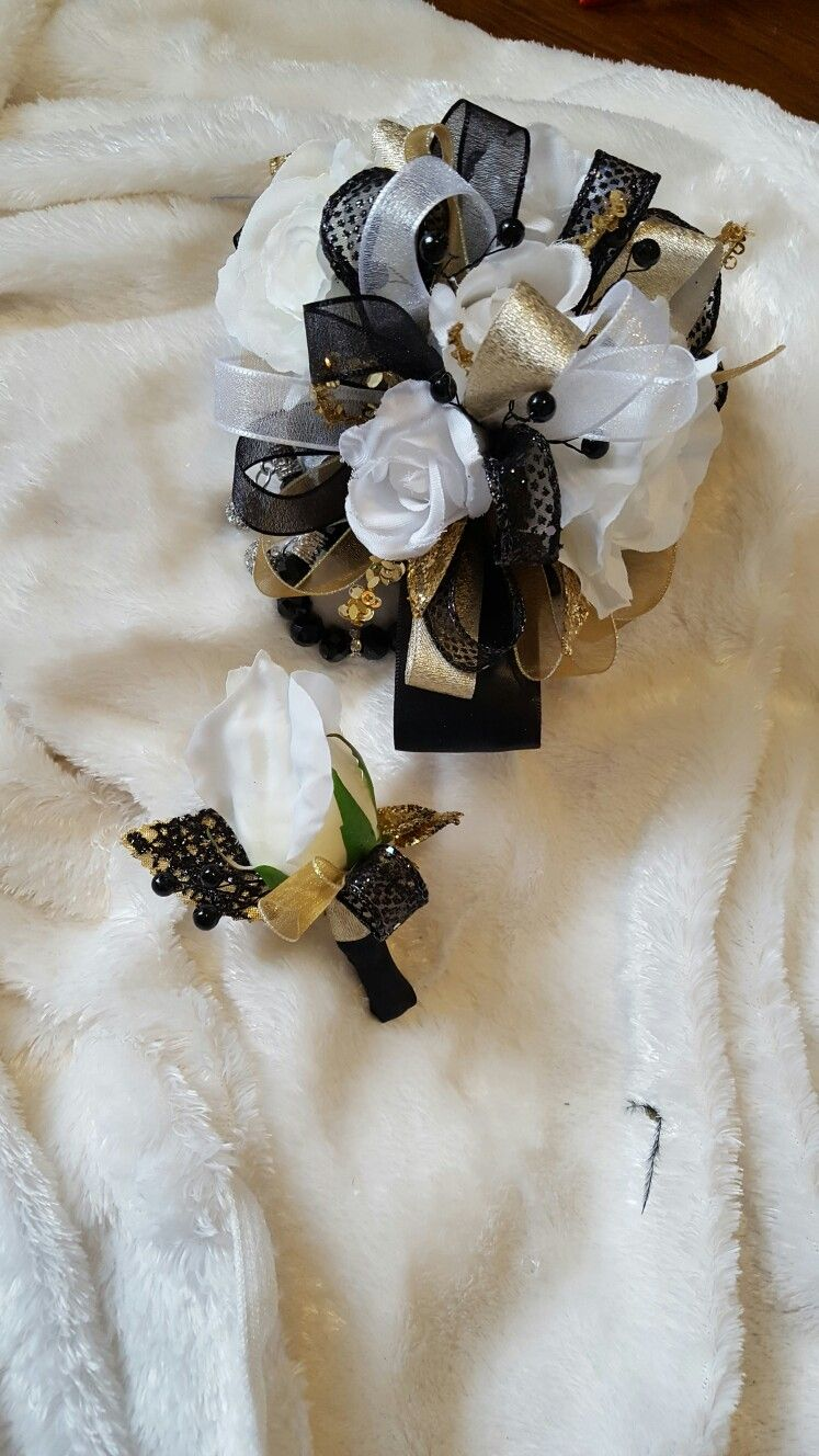Black white and gold prom corsage set from hen house designs www hen house designs full service silk florist in denham springs la can assist you with wedding flowers or any occasion or event mightylinksfo Choice Image