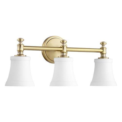 Quorum Lighting Aged Brass Bathroom Light | Brass Bathroom, Lights And  Glass Shades