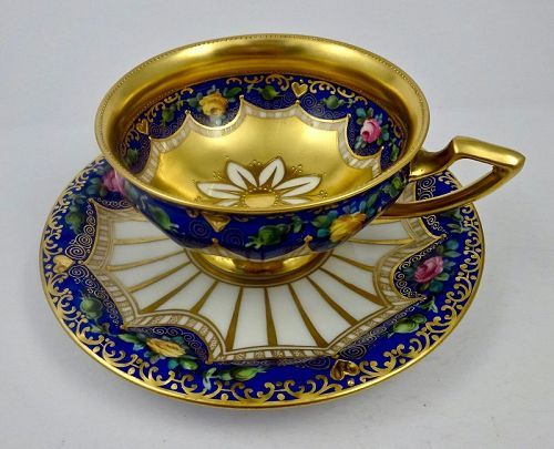 Antique Lamm Dresden Oversized Cup & Saucer #teacups