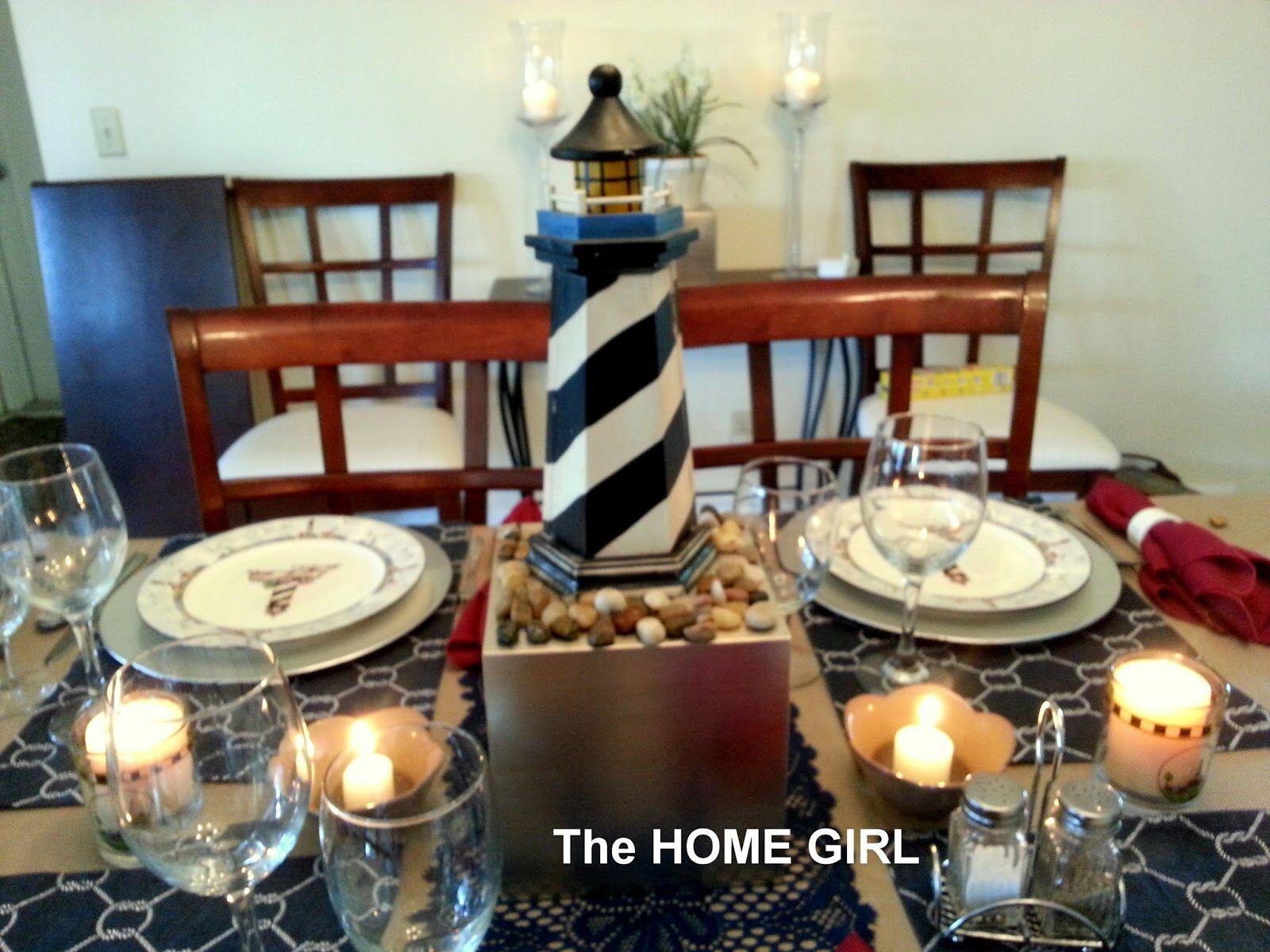 Lighthouse Centerpiece Idea Nautical Theme Tea Party Table Tablescapes Table Centerpieces