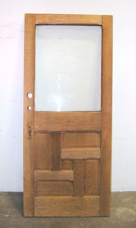 Antique Quarter Sawn Oak Entry Door Architectural Salvage 36 X 84