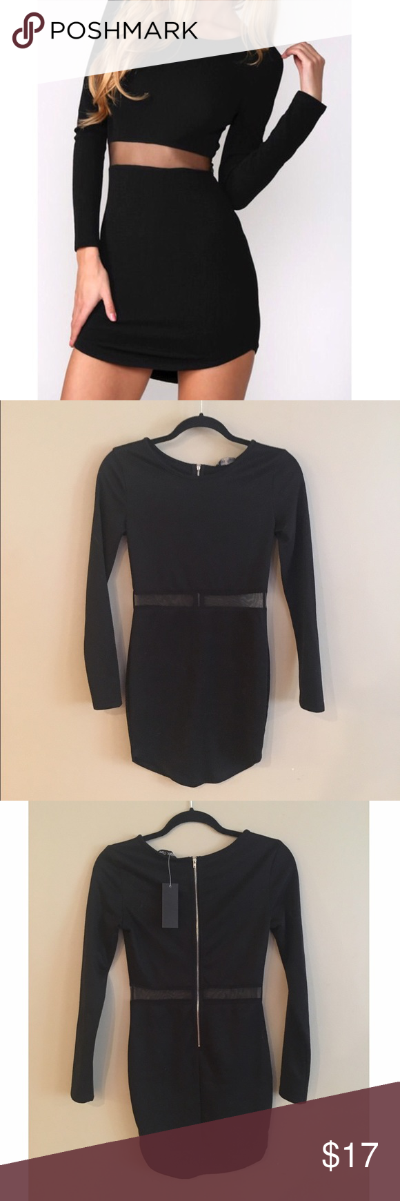 Black mesh cut out dress fitted long sleeve black dress zip closure
