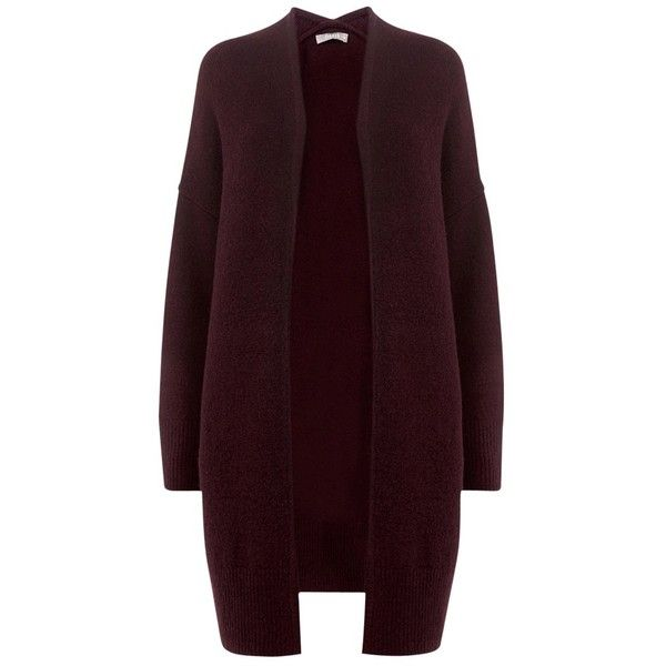 Oasis Cardigan, Burgundy (£45) ❤ liked on Polyvore featuring tops, cardigans, long sleeve jersey, burgundy cardigan, jersey cardigan, jersey top and long sleeve jersey top