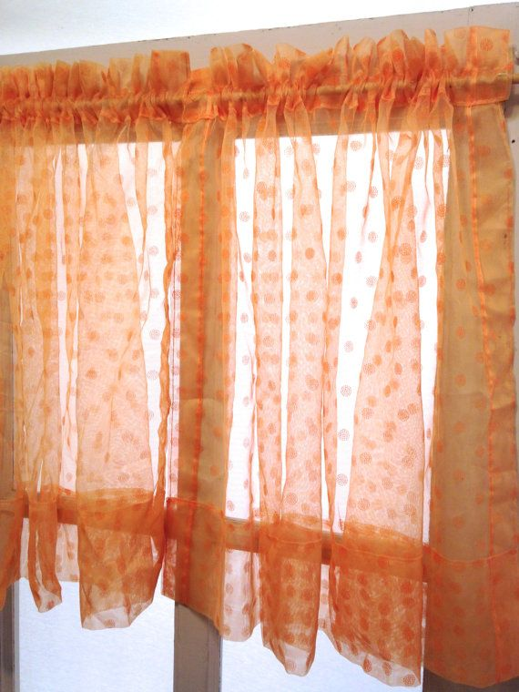 Retro Orange Polka Dot Sheer Curtain Panels By Lisaliyesteryears