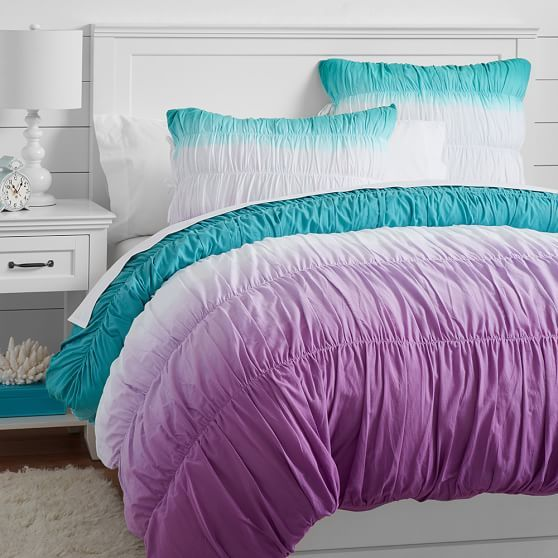 Surf Dip Dye Ruched Duvet Cover + Sham, Pool/ Purple | PBteen