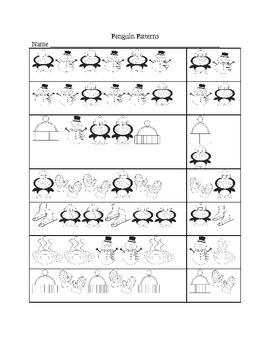 Penguin Winter Patterns Kindergarten Math Worksheets Pattern Worksheets For Kindergarten Kids Math Worksheets