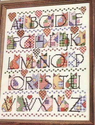 Cross Stitch Cat Alphabet Chart--free download.
