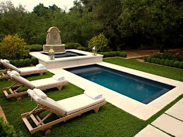 White chaise lounge chairs ... around pool ... FROM: Settees Design Ideas, Pictures, Remodel, and Decor - page 41