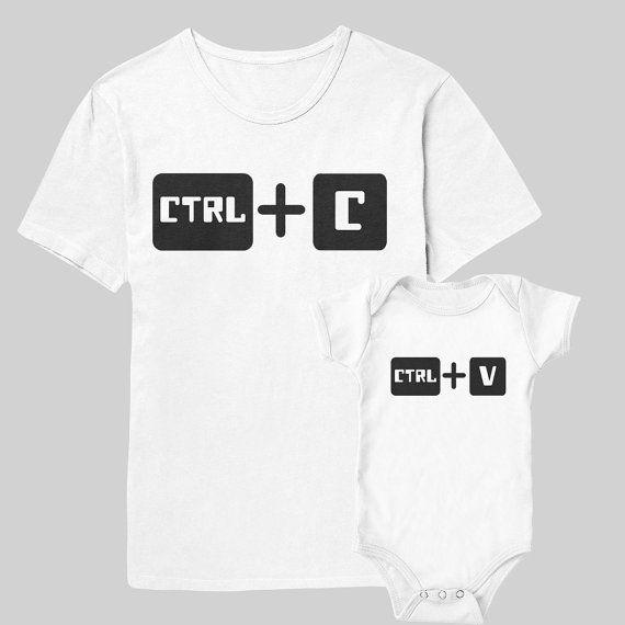 Ctrl C   Ctrl V Dad   Baby Set Gifts for Parents por CanvasAvenue Camisas De 3b83d8d4fb7