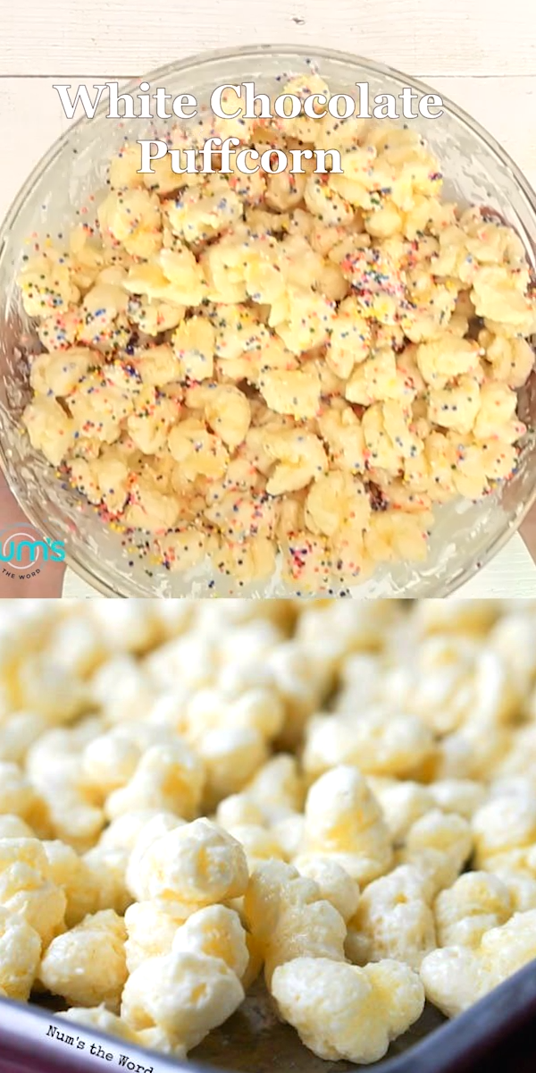White Chocolate Puffcorn This White Chocolate Puffcorn is also called Popcorn Crack.  So easy to make and HIGHLY addictive!  Made with almond bark or white chocolate this puffcorn is a dessert we love all year round!  This can also be turned into white chocolate popcorn!!