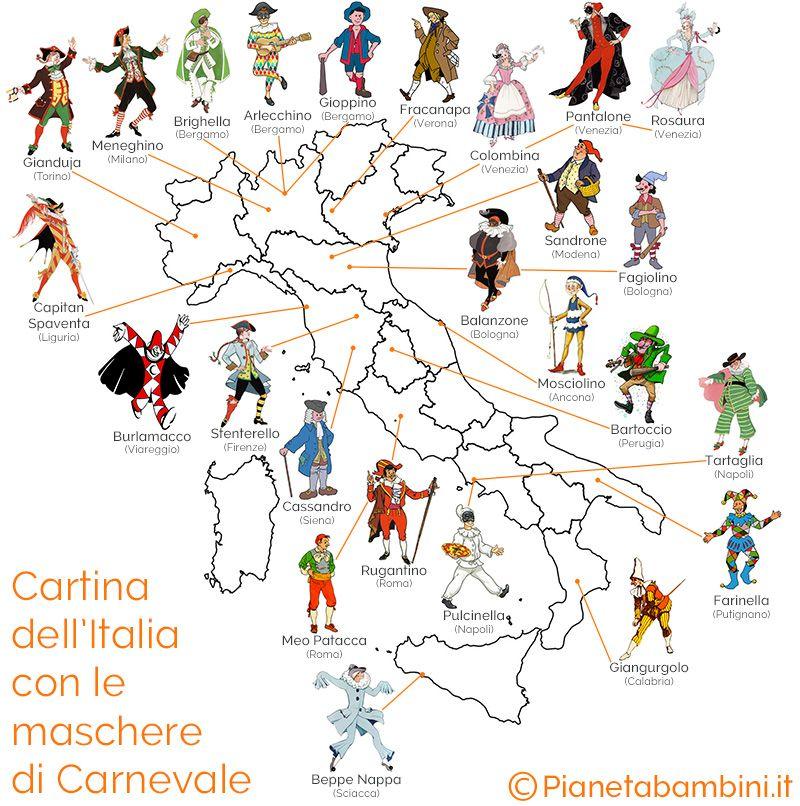 Disegno Della Cartina D Italia.Tutte Le Maschere Di Carnevale Italiane Storia E Immagini
