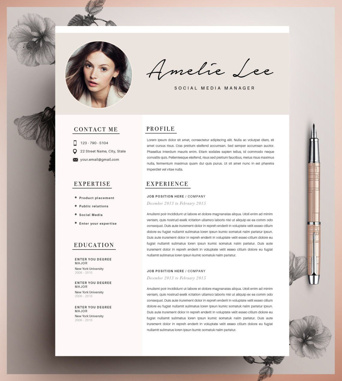 Creative Resume Template Minimalist Resume Cv Design Resume